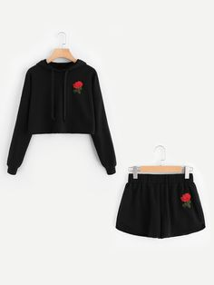 Shop Rose Embroidered Hoodie And Shorts Set online. SheIn offers Rose Embroidered Hoodie And Shorts Set & more to fit your fashionable needs. Teen Girl Outfits, Cute Outfits For Kids, Teen Fashion Outfits, Cute Summer Outfits, Cute Casual Outfits, Pajama Outfits, Crop Top Outfits, Short Outfits, Cute Sleepwear