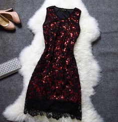 Lady embroidered sequined dress