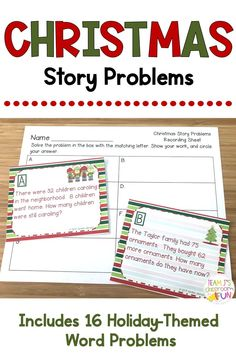 Practicing word problems is a wonderful way for students to build up problem solving skills and practice math strategies. These word problems include a fun Christmas theme along with addition and subtraction practice (with and without regrouping).  Students will have fun solving these holiday-themed problems during math stations, independent practice, or math groups.  {2nd Grade, Second Grade, 3rd Grade, Third Grade, Christmas, Christmas Math, Story Problems, Word Problems}