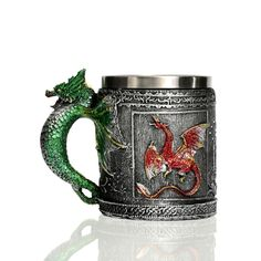 Retro Collectible 3D Stainless Steel Tankard Drinking Vessel - Classic Medieval Shoppe