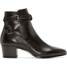 Saint Laurent Black Leather Jodhpur Ankle Boots (1 100 AUD) ❤ liked on Polyvore featuring shoes, boots, ankle booties, ankle boots, botas, heels, leather boots, short boots, black leather bootie and leather booties