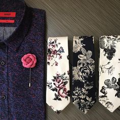 Flower ties and pins to jazz up a plain black suit