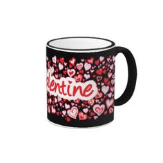 """My Valentine"" hearts red pink black mug"