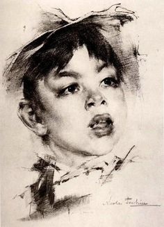 Nicolai Fechin (1881 – 1955, Russian) Portrait Of A Boy
