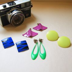 Hot 80s EARRINGS COLLECTION Vintage Bright Neon Geometric Colorblocking
