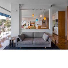 Modern mid-century kitchen + living room