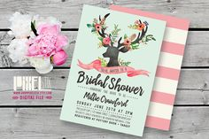 Rustic Floral Bridal Shower Invitation, Deer Head Antler with Flowers Invite - CUSTOMIZABLE PRINTABLE - Pink and Mint, Bridal Luncheon
