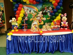 Mickey Mouse Cake Table With Backdrop NYC BALLOON SQUAD