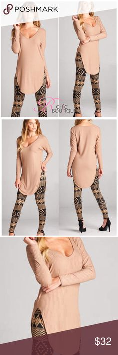 """Mocha Ribbed Long Sleeve Tunic Top Mocha Ribbed Long Sleeve Top featuring a V neckline and a round hem. Made of Rayon/spandex blend.Marled. Measurements for small: laying flat from pit to pit 16""""/ length 25"""". MADE IN USA Bchic Tops"""