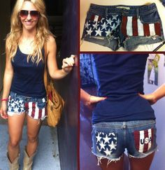 DIY American flag shorts!!!! OMG! Just made these they turned out fantastic! Don't worry is the white paint for the stars leaks under the stencil...mine did and in the end they look really cool! This is a must do for the Fourth of July!