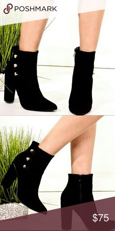 - Coming Soon - Black Vegan Suede Booties Black Vegan Suede Tall booties with chunky column heels and gold buttons. Shoes Ankle Boots & Booties
