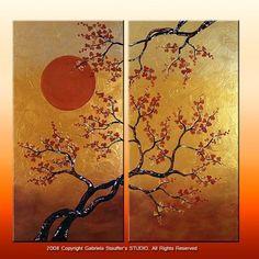 CUSTOM PAINTING Asian Zen Tree Modern Original by GabrielaStauffer, $349.00