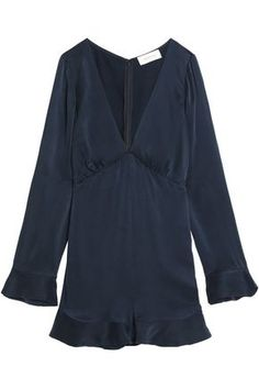 Ruffle-trimmed washed-silk playsuit
