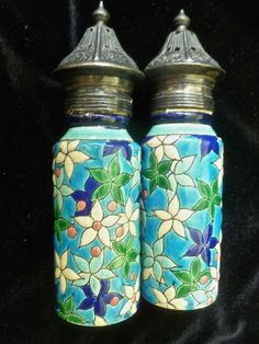 Antique Longwy 1890's Salt Pepper Shakers French Faience Pottery Pattern D 950