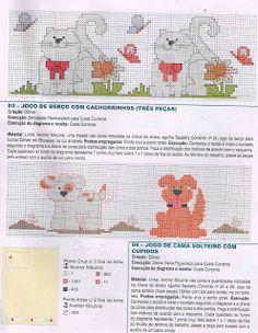 Gráficos Ponto Cruz e Artesanato: Infantil - Gatos e cachorros