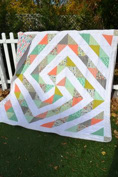 Modern Quilt Handmade Cottage Chic Mid by TrueloveQuiltsForYou