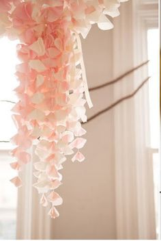 hanging art, paper, peach, flower decorations, pink, garland, blush, rose petals, backdrop