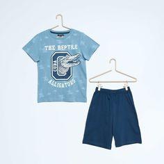 Pyjama court en coton imprimé 'croco' Garçon - Kiabi - 8,00€