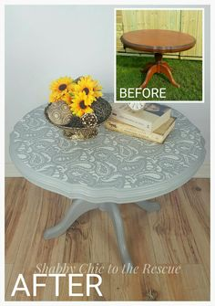 Coffee table painted in Annie Sloan Paris Grey with paisley stencil on the top.