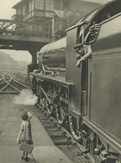 Little Girl & Railway driver Steam Train vintage by ImpalaPrints