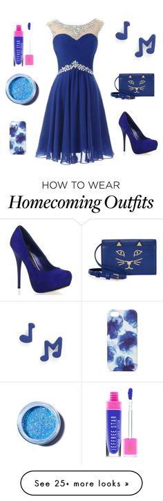 """royal blue homecoming dress match"" by wrightwendy on Polyvore featuring Charlotte Olympia, Marc by Marc Jacobs, Lime Crime and Jigsaw"