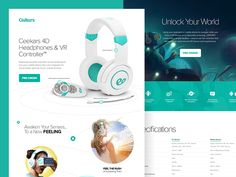 Pre-Order Landing page design for a set of VR headphones & controller.  Check Out The Full Pixels