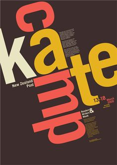 This poster was designed for Kate Camp.  It was for a NZ Post brief.  Kate Camp is a young, modern Kiwi poet/author so this poster aims to illustrate this.    by Emma Hickey