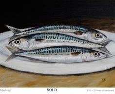"Brian Fox-Paterson. - 3 Mackerel ""DIARY from FOXWOOD"" -  subscribe for free to see new daily paintings. Mackerel Fish, Spanish Mackerel, Driftwood Fish, Jellyfish Art, Sea Life Art, Fish Quilt, Fish Drawings, Ocean Creatures, Beach Scenes"