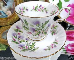 QUEEN ANNE TEACUP LOCHINVAR THISTLE TEA CUP AND SAUCER on eBay!