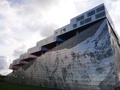 Mountain Dwellings parking lot facade.  Digital perforations into aluminum plates.  BIG.  Copenhagen, Denmark, 2008.