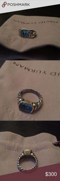 David Yurman Noblesse Ring - blue topaz stone David Yurman Noblesse Ring - blue topaz stone  Silver and gold  100% authentic David Yurman Jewelry Rings