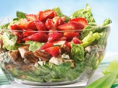 Layered Chicken Salad ~ I'll skip the gorgonzola & use feta instead. This is a low-carb salad, too!