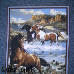 Quilt Girls - Approaching Storm Horse Fabric Panel to sew ... : horse fabric for quilting - Adamdwight.com