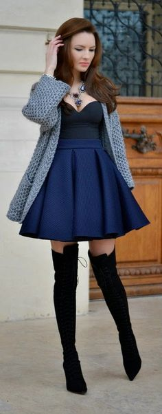 The Granny Sweater - Navy Blossom Pleated Skirt with Grey Granny Cardigans and Black Smiling Long Booties / My Silk Fairytale