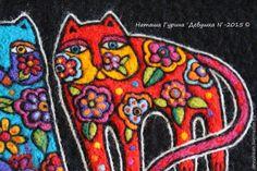 Создание рисунка на валяном клатче по мотивам творчества Лорел Берч – Ярмарка Мастеров Wool Art, Ribbon Art, Felt Art, Needle Felting, Knit Crochet, Knitting, Cats, Accessories, Youtube