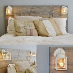 Wood pallet bed with lantern lights. WE HAVE THIS AND LOVE IT!
