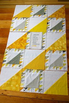 Yellow and Grey Lady of the Lake Quilt Progress