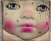 Handmade clay face pink square  goddess  woman doll head  jewelry craft supplies  cabochon  mosaics dolls jewelry craft parts spirit