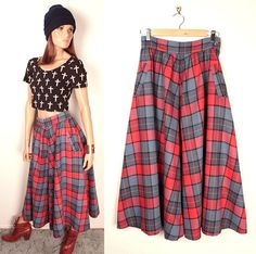 vintage plaid full skirt // high waisted // front by BexVintage, $29.00