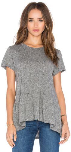 I love this heathered grey tee shirt with peplum detail. Michael Lauren Hart Short Sleeve Ruffle Tee