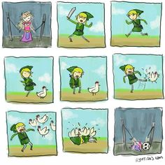 Ryotiras has summed up a Zelda truism in this very funny comic strip. The Legend Of Zelda, Legend Of Zelda Memes, Zelda Video Games, Video Game Memes, Nintendo, Wind Waker, Gif Animé, Twilight Princess, Princess Zelda