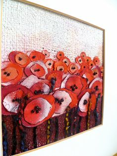 mixed media abstract flower in reds and oranges