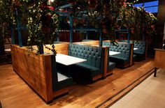 Fixed seating booths at Baffito's in Warrington.