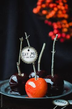 Candy apples for Halloween by Ruth Black - Candy apple - Stocksy United Halloween Candy Apples, Diy Halloween Food, Halloween Dinner, Diy Halloween Decorations, Holidays Halloween, Happy Halloween, Vintage Halloween, Super Torte, Fall Recipes