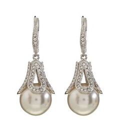 Nadri Open Pavé NACRE Pearl Drop Earrings