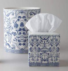 cotton case turquoise blue cotton boat design boat fabric Tissue holder