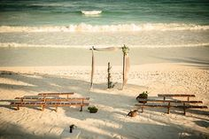 "The Tradition At This Wedding Is Totally Amazing #refinery29  http://www.refinery29.com/tulum-wedding#slide-11  ""We found out it was actually cheaper to get certain things made in Mexico versus renting them. So, we had the benches and arch custom-made for us."""