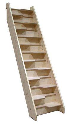 Escalera recta / con zancas laterales / compacta / sin contrahuellas - BIRCH 24 SPACE SAVER - Stair Plan