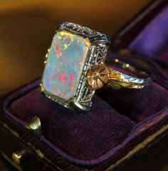 14K BLACK OPAL COCKTAIL RING ROSE GOLD VINTAGE BOX VICTORIAN ANTIQUE 4.50 CARATS - Rare Vintage Black Opal Ring in 14K Solid Gold. White, Yellow & Rose Gold Flowers. Australian Natural Opal with Fine Rainbow Fire. This fine Antique Solid Semi-Black Opal ring had been stored away in a safe in Savannah, Georgia.