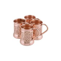 NOVICA Four Handcrafted Grape Motif Copper Tankards (335 PLN) ❤ liked on Polyvore featuring home, kitchen & dining, drinkware, beer, homedecor, metallic, tableware & entertaining, novica, copper tankard and beer tankard